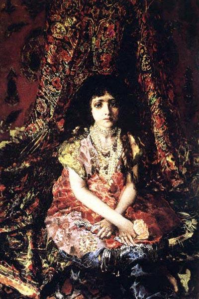 Врубель «Девушка на фоне персидского ковра»